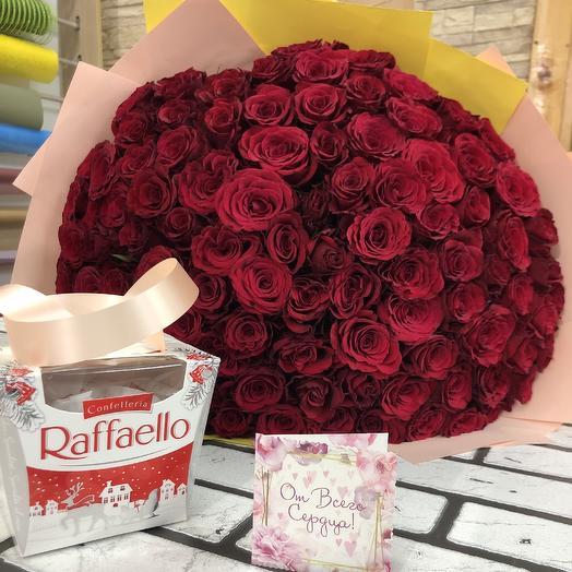 101 эквадорская роза: букеты цветов на заказ Flowwow
