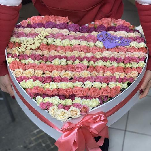 Коробочка сердце из кустовых роз