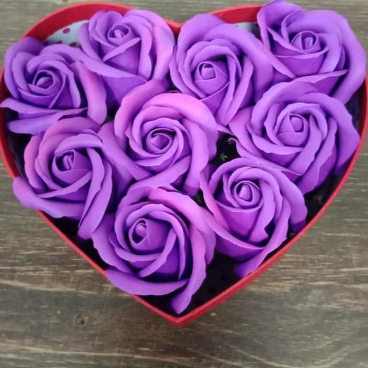 Валентинка из мыльных роз: букеты цветов на заказ Flowwow