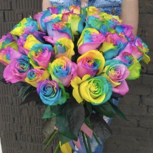 Радужные розы: букеты цветов на заказ Flowwow