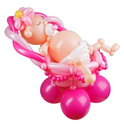 """Плетеная фигура из шаров """"Девочка в люльке"""""""