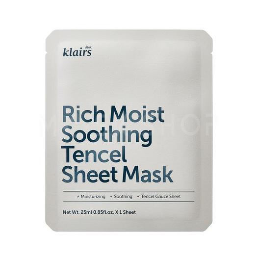 Успокаивающая маска Dear, Klairs Rich Moist Soothing Tencel Sheet Mask