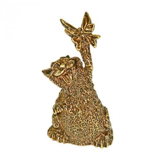 Колокольчик бронзовый Кот с бабочкой 7 см