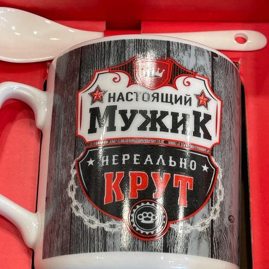 Набор керамическая чашка с ложечкой