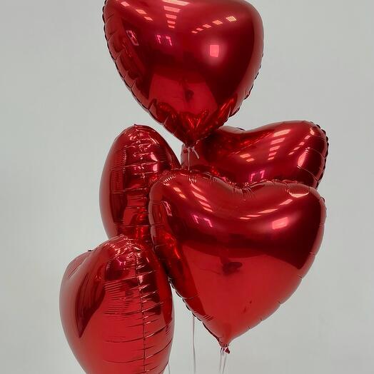 Набор шаров из 5 сердец