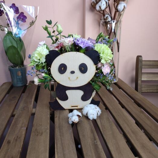 Цветы в коробке Панда