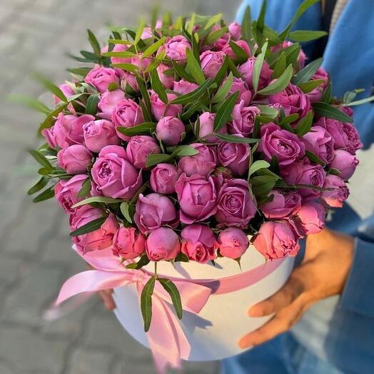 Цветы в коробке Мисти баблз