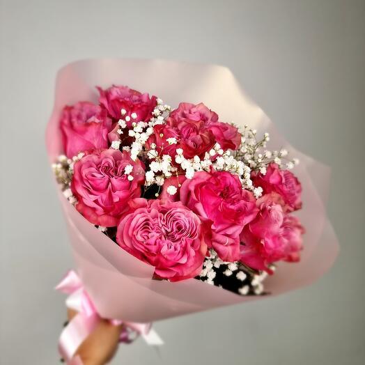 Нежный букет из эквадорской ароматной розы с веточками гипсофилы 🌸💕