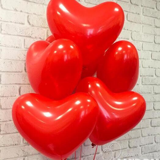 Связка 5 шариков сердце латекс красные
