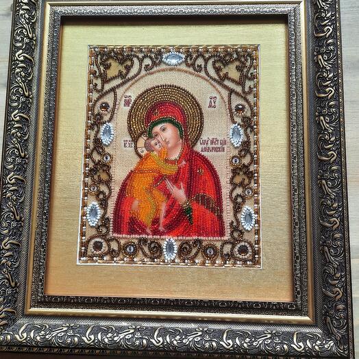 вышитая бисером икона Феодоровская