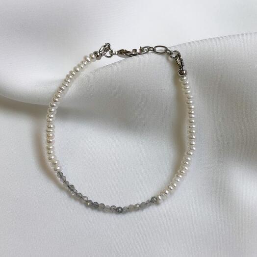 Жемчужный браслет Pearl   лабрадорит
