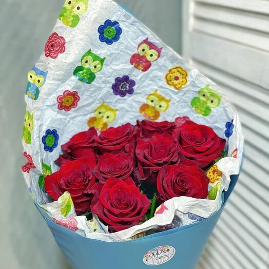 9 красных роз эквадор
