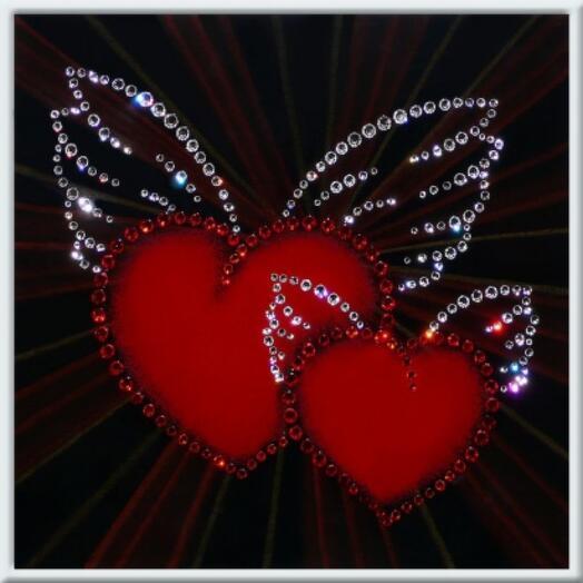 """Картина с кристаллами Swarovski """"Окрыленные сердца"""""""