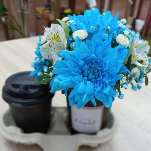 """Цветы в стаканчике """"Кофе с любовью"""""""