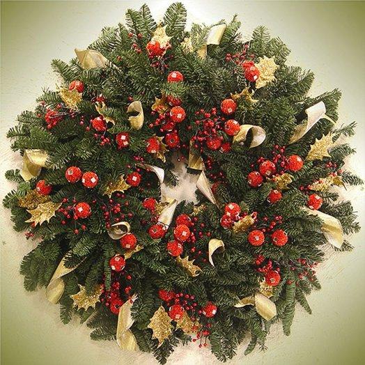 Новогодний венок «Рождественская ночь»: букеты цветов на заказ Flowwow