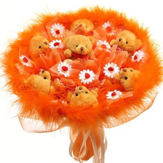 Букет из мягких игрушек МИ-МИ-МИШКИ: букеты цветов на заказ Flowwow