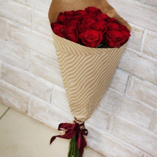 Букет из 21 бордовой розы Премиум: букеты цветов на заказ Flowwow