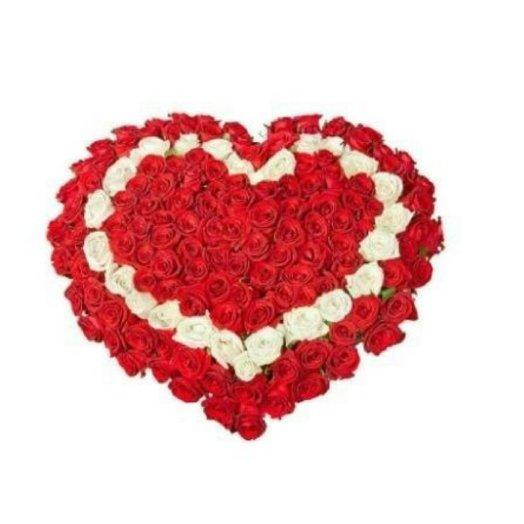 Сердце из роз (101 шт): букеты цветов на заказ Flowwow
