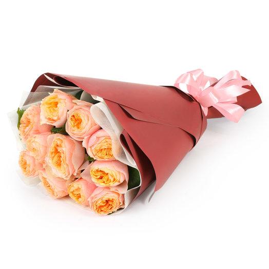 """Bouquet of 11 peony roses """"Vuvuzela"""""""