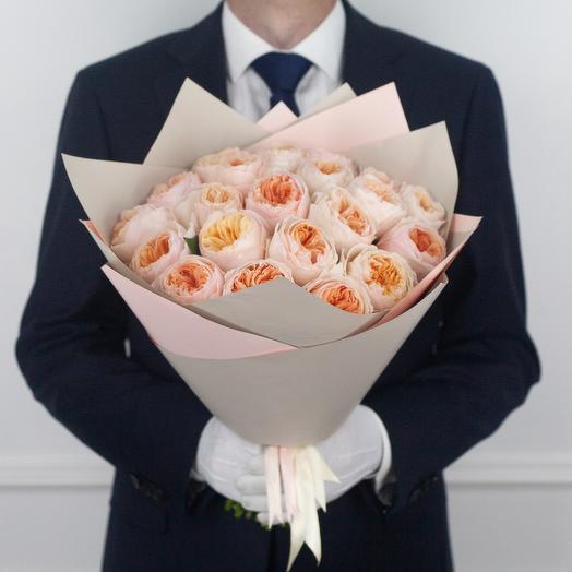 Букет из 21 пионовидной розы Juliet: букеты цветов на заказ Flowwow