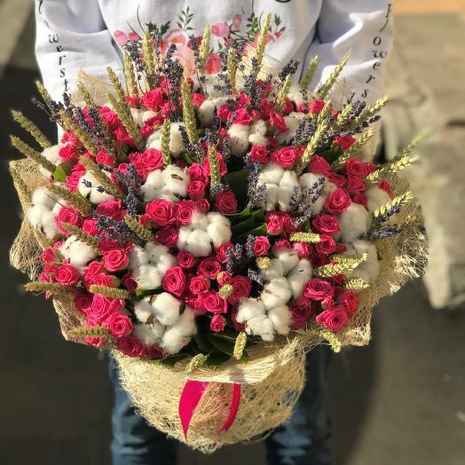 Кустовая  роза, хлопок, пшеница , лаванда N278: букеты цветов на заказ Flowwow