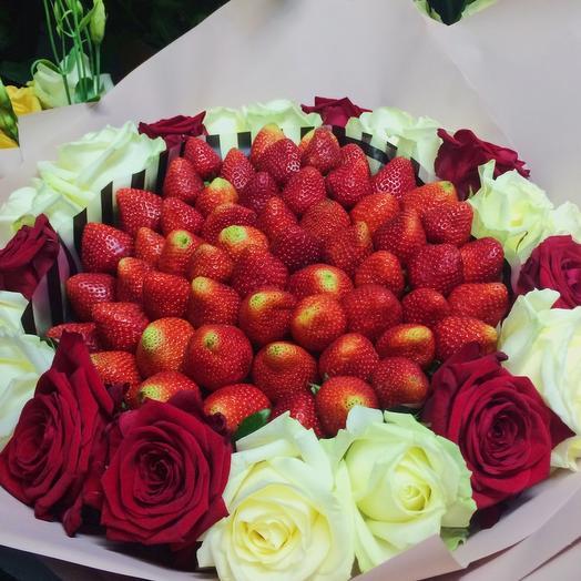 Клубничный букет «Бельгия»: букеты цветов на заказ Flowwow