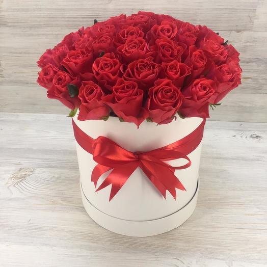 Коробочка из 51 розы эльторо: букеты цветов на заказ Flowwow
