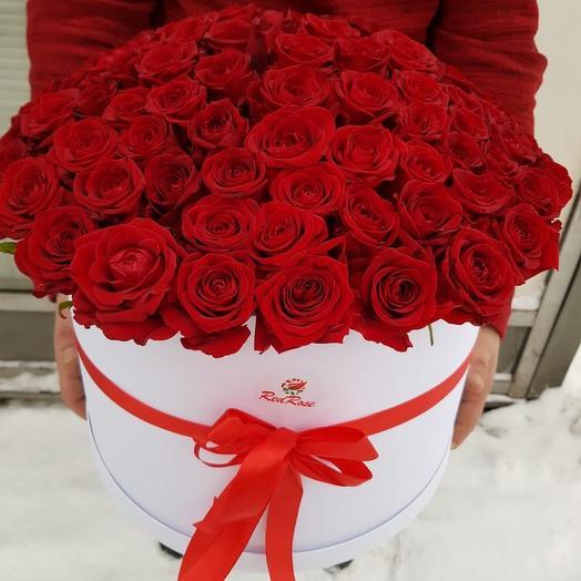 Коробка XXl из 101 красной Розы: букеты цветов на заказ Flowwow