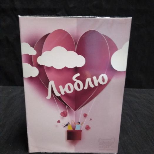 """Открытка с шоколадом ( 4шт.), """"Люблю.."""". 10см*15см: букеты цветов на заказ Flowwow"""
