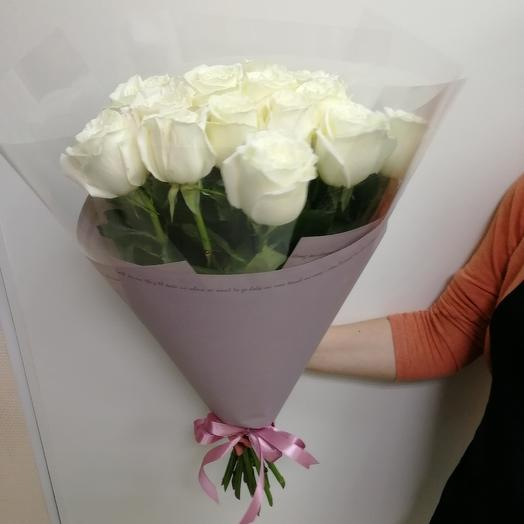 15 white roses and lovely packaging: flowers to order Flowwow