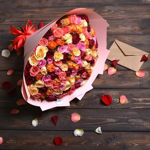 Микс Из 101 Розы: букеты цветов на заказ Flowwow