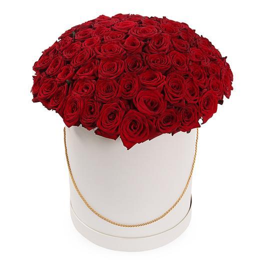 Букет 101 красная роза в шляпной коробке: букеты цветов на заказ Flowwow
