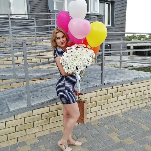 Моно букет из 11 кустовых хризантем: букеты цветов на заказ Flowwow