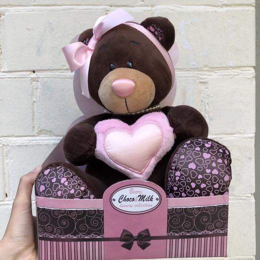 Мишка с розовым сердцем: букеты цветов на заказ Flowwow