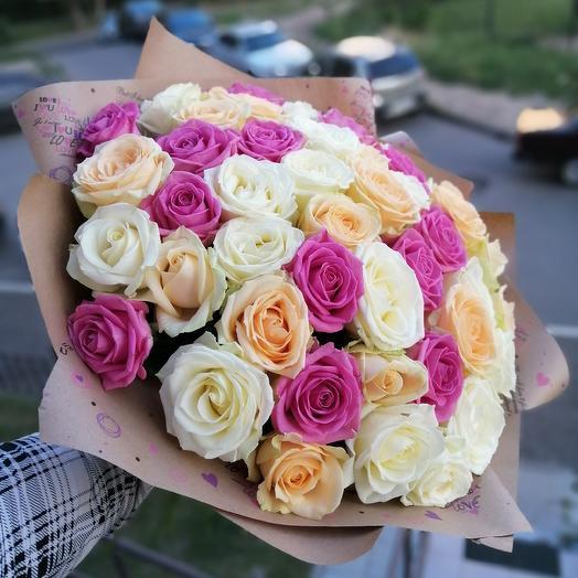 45 роз микс: букеты цветов на заказ Flowwow
