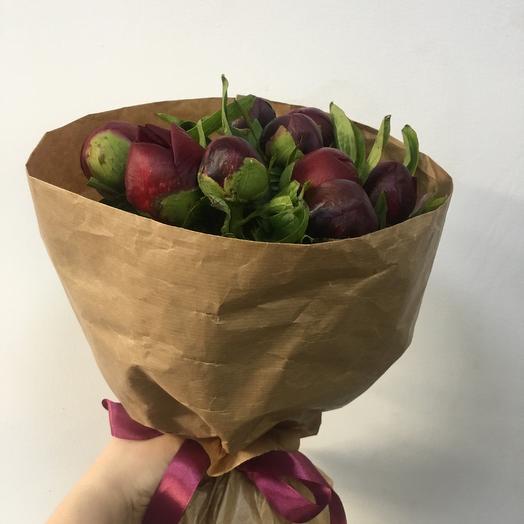 9 пионов в крафте: букеты цветов на заказ Flowwow