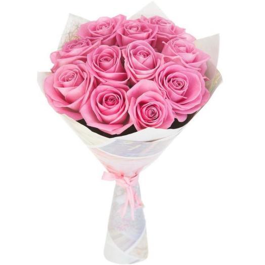 Розовые розы 11 шт: букеты цветов на заказ Flowwow