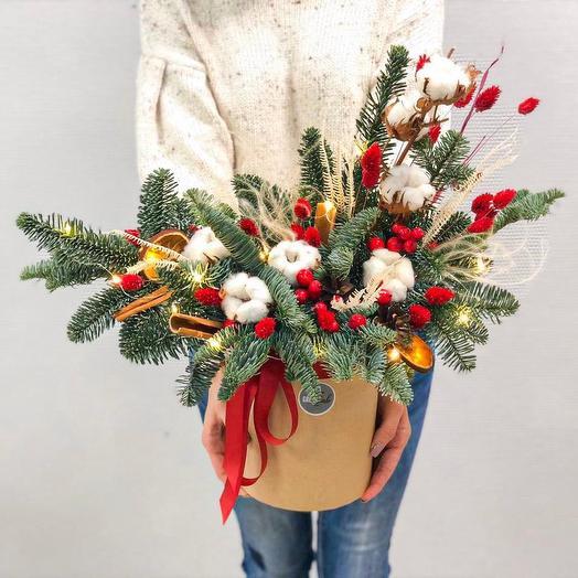 Новогодняя композиция из нобилиса в шляпной коробке с золотыми огоньками: букеты цветов на заказ Flowwow
