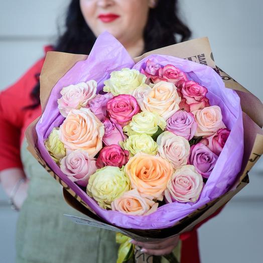 Букет «25 роз микс нежных оттенков»