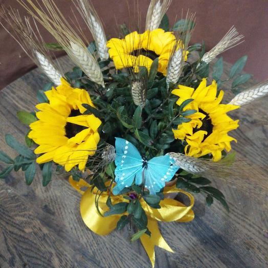 Мини коробочка с подсолнухами: букеты цветов на заказ Flowwow