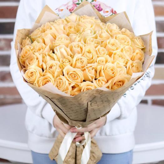 Букет из 51 кремовой розы (50 см). N713: букеты цветов на заказ Flowwow