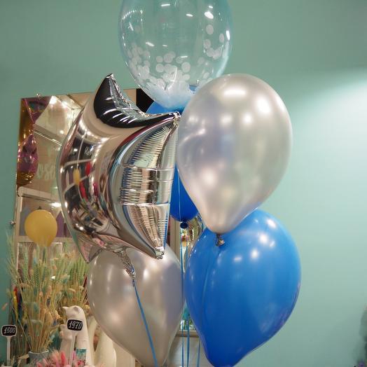 Набор из шаров голубо-серебряный