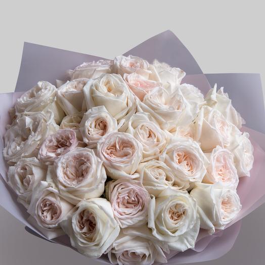 Пионовидные розы White Ohara 31 шт