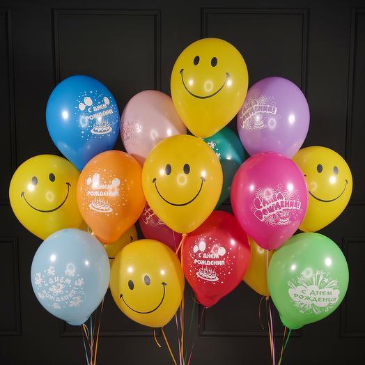 Композиция из шаров С Днем Рождения со Смайлами