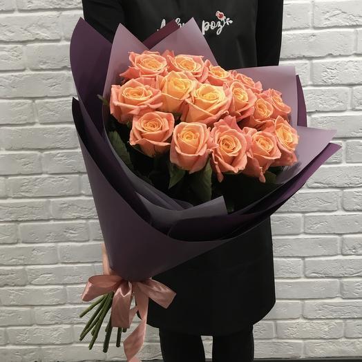 Букет 15 роз Мисс Пиги 60см