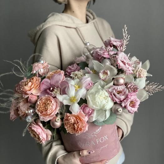 Коробка с цветами «Розовый Лед»