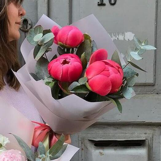 Coral Charm Peonies with eucalyptus (France)