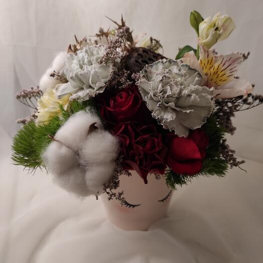 Цветы в кашпо с хлопоком