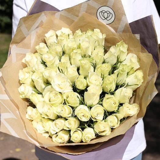 Букет из 51 белой розы (Кения) 40 см Standart