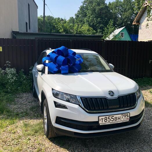 Бант синий 90 см на машину